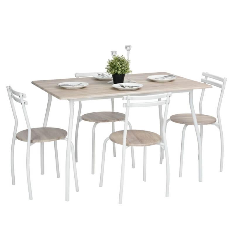 Ensemble table et 4 chaises contemporain m tal et bois coloris ch ne blanc beach matelpro - Ensemble table et chaise blanc ...