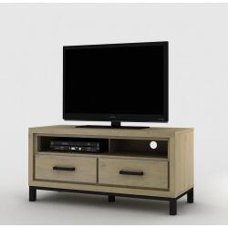 Meuble TV contemporain 120 cm coloris chêne beaufort Malaisia