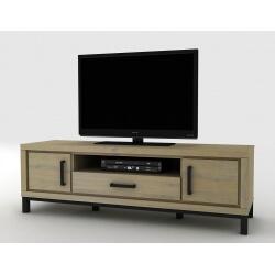 Meuble TV contemporain 160 cm coloris chêne beaufort Malaisia