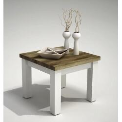 Table basse carrée style campagne pin blanc/chêne Seoul