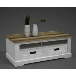Table basse rectangulaire style campagne pin blanc/chêne Seoul