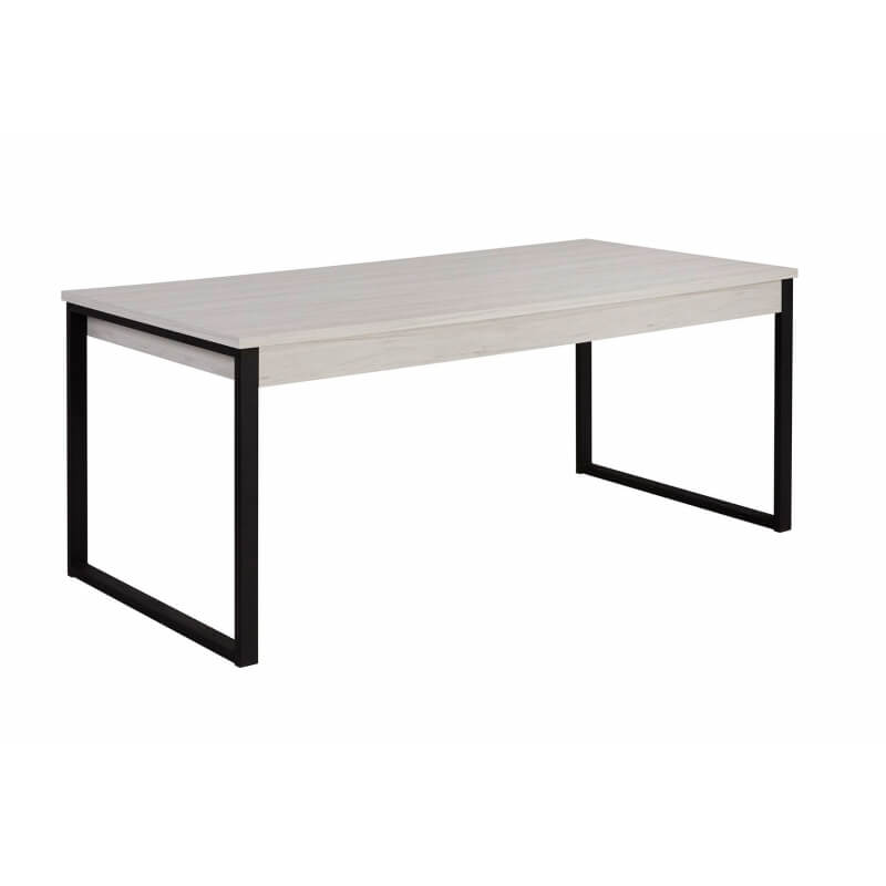 Table de salle manger contemporaine coloris ch ne blanc illinois matelpro - Table de salle a manger contemporaine ...