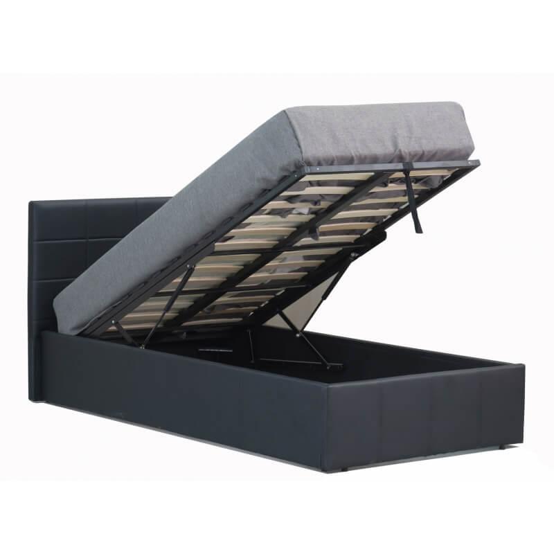 lit coffre enfant contemporain en pu noir coralie matelpro. Black Bedroom Furniture Sets. Home Design Ideas