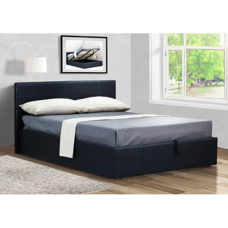 lit coffre adulte contemporain en pu noir coralie matelpro. Black Bedroom Furniture Sets. Home Design Ideas