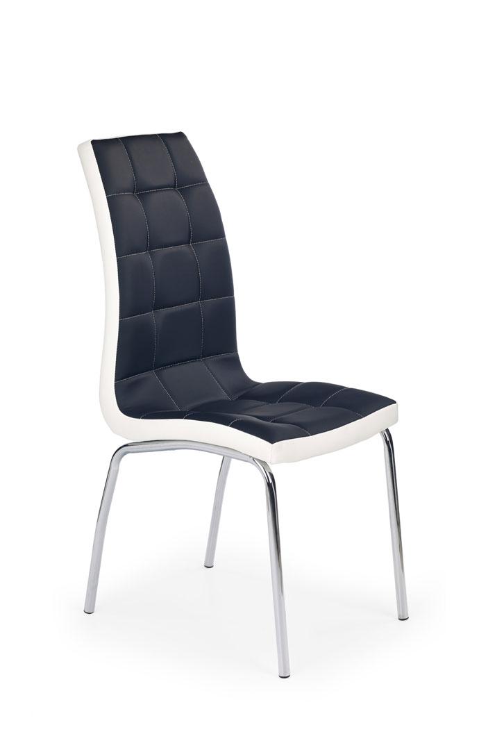 Chaise de salle à manger design en PU noir/blanc (lot de 4) Amethys