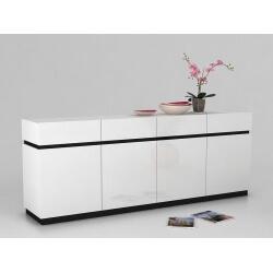 Buffet/bahut 4 portes/4 tiroirs design coloris blanc Matisse