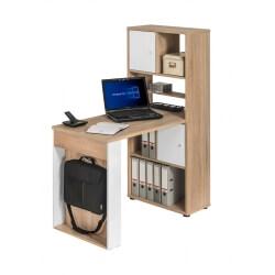 Bureau contemporain avec rangement coloris chêne/blanc mat Adelice
