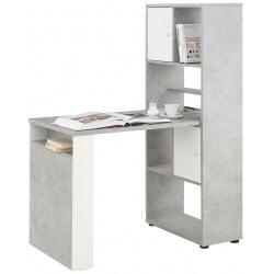 Bureau contemporain avec rangement coloris gris pierre/blanc mat Adelice