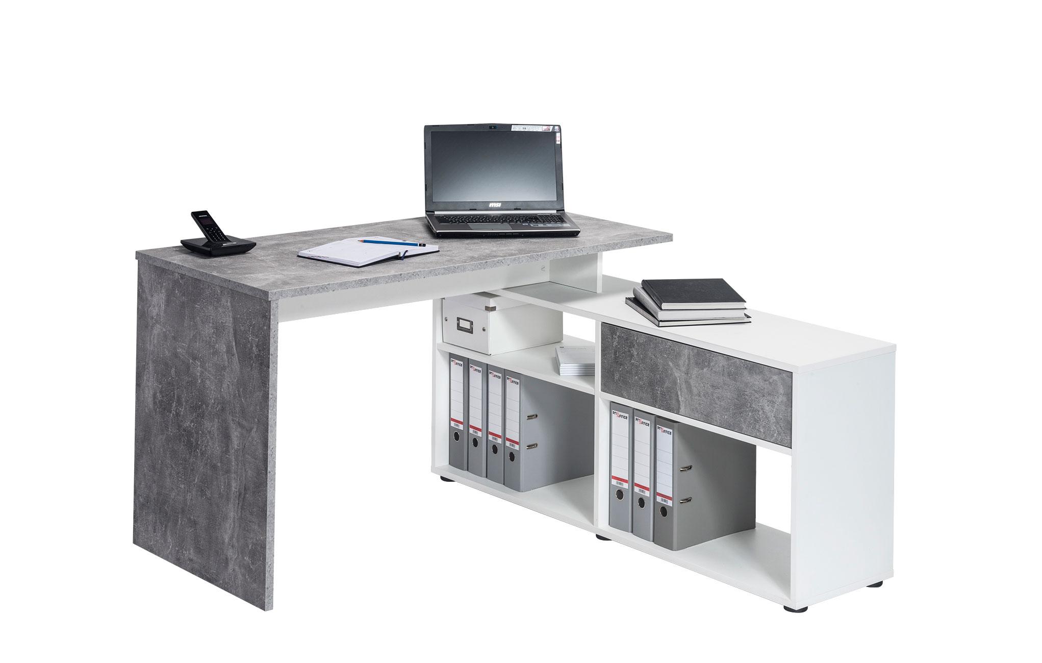 Bureau led connecté technologic gris et blanc meuble tv hifi