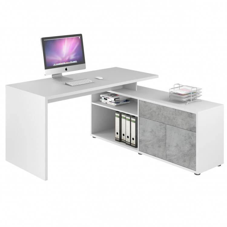Bureau d'angle contemporain coloris blanc/gris pierre Azula