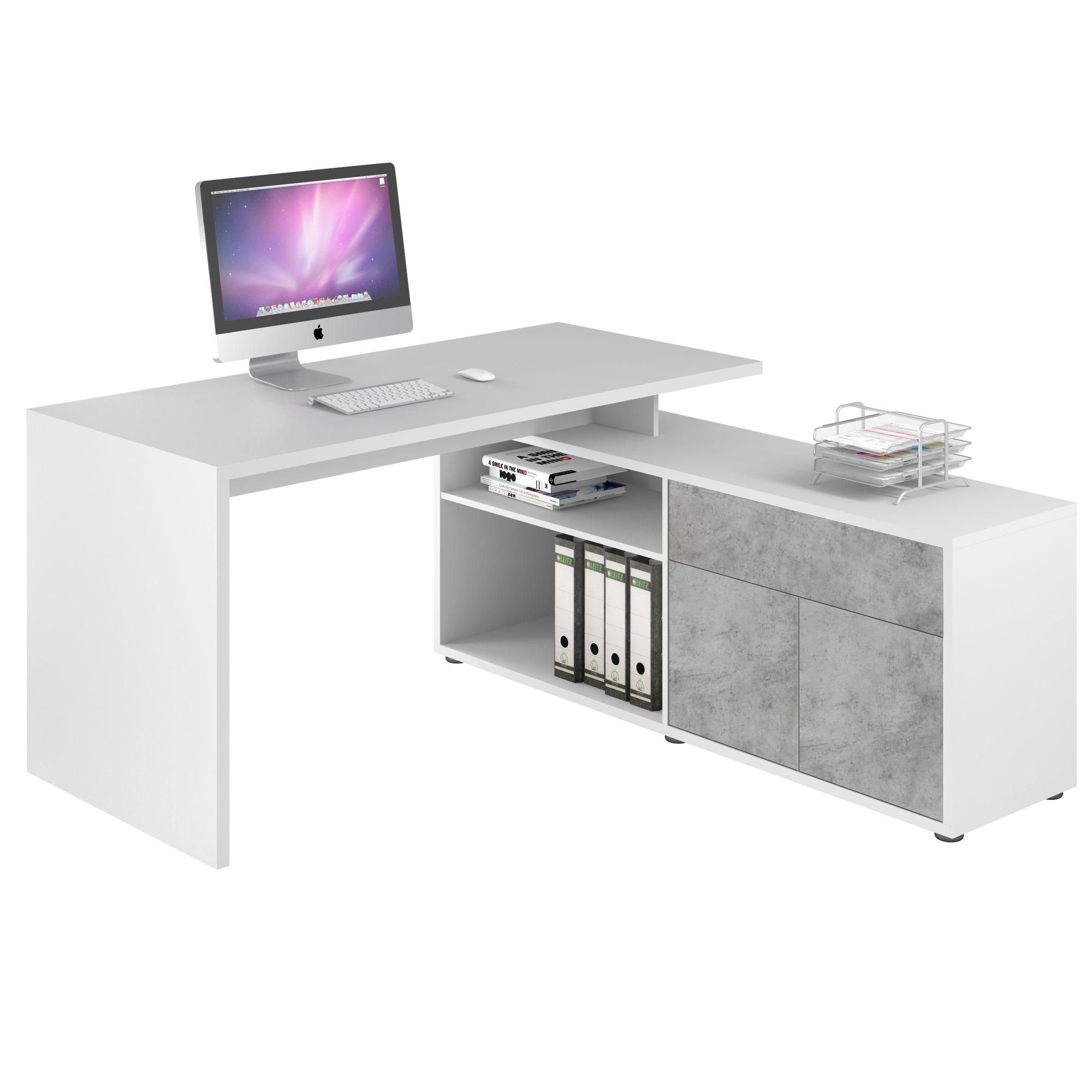bureau d'angle contemporain coloris blanc/gris pierre azula | matelpro