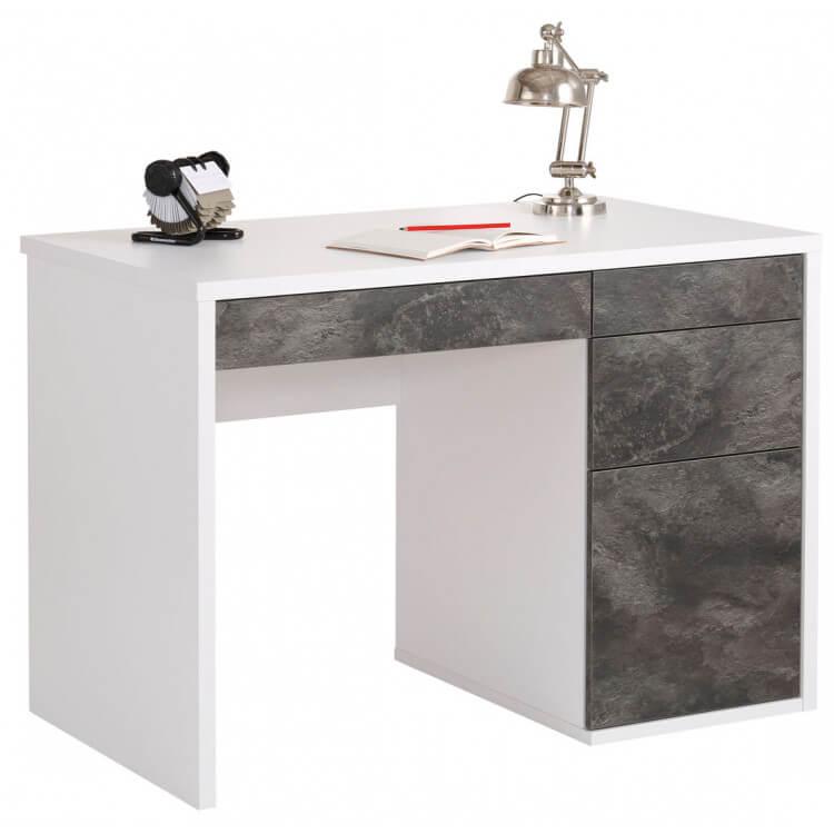 Bureau informatique design gris ardoise/blanc brillant laqué Mattea