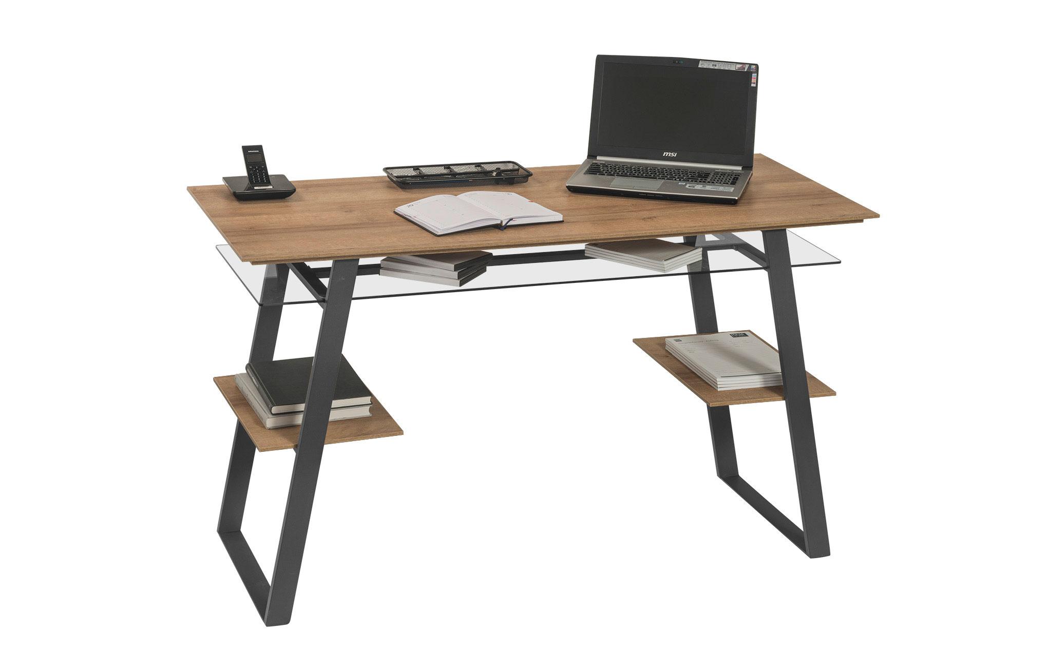 Bureau informatique design métal et bois coloris chêne anthracite