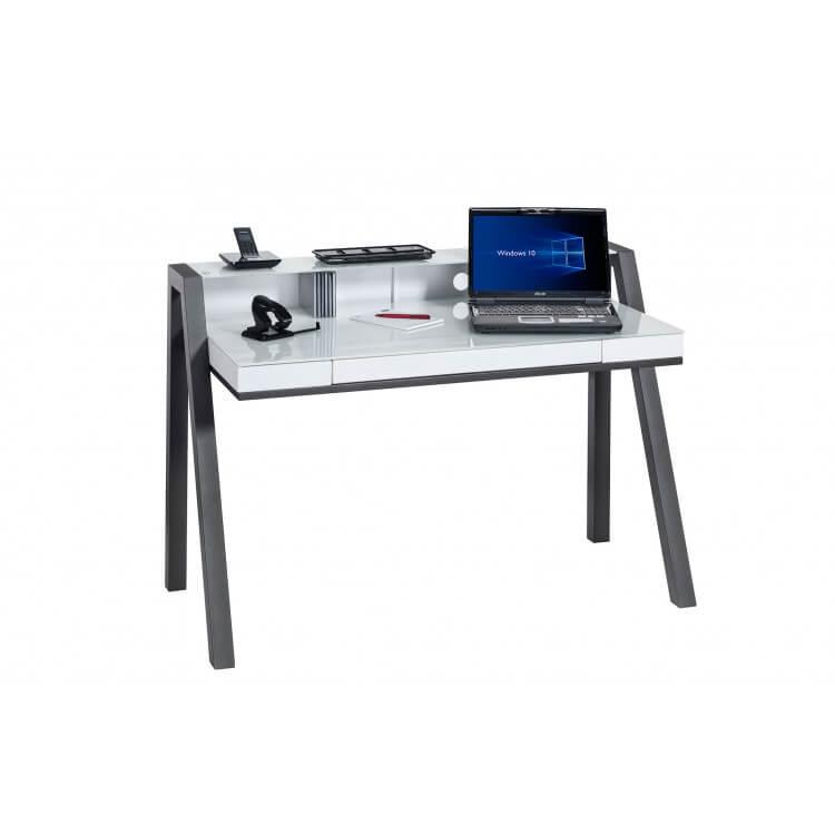 Bureau informatique design métal anthracite et verre blanc Faustine
