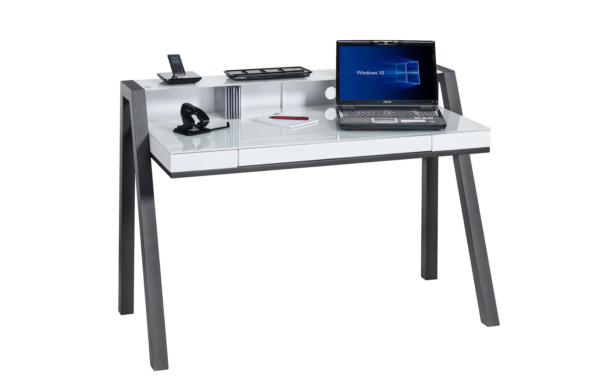 Bureau informatique design métal anthracite et verre blanc