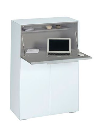 Bureau secrétaire design en verre blanc Hector