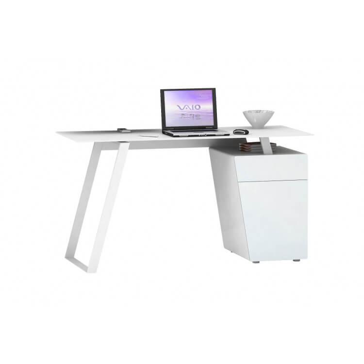 Bureau informatique design métal et verre blanc Janeto