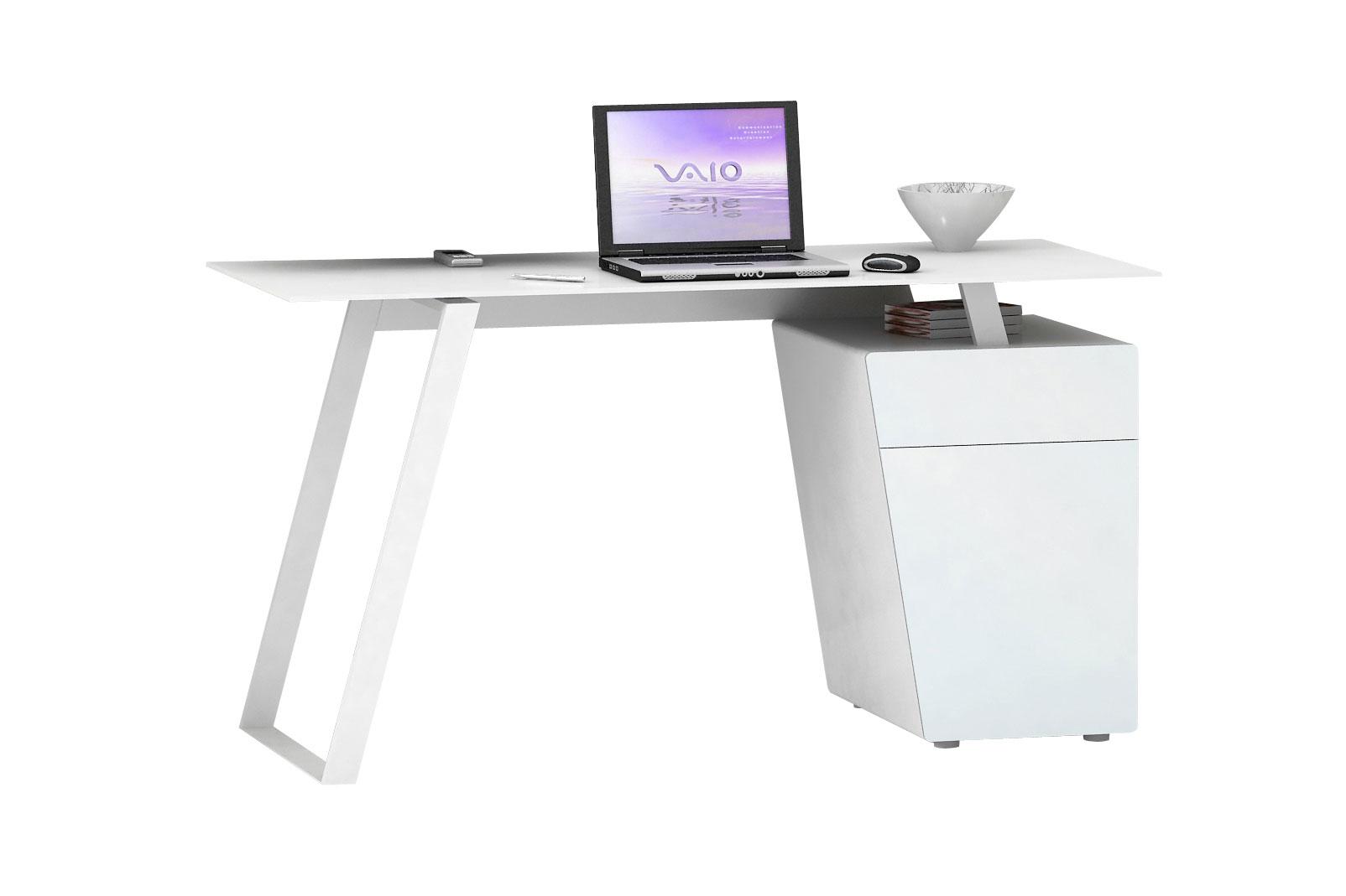 Bureau Informatique Design Métal Et Verre Blanc Janeto Matelpro
