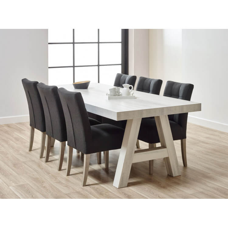 Table De Salle A Manger Contemporaine Coloris Chene Blanchi Daytona