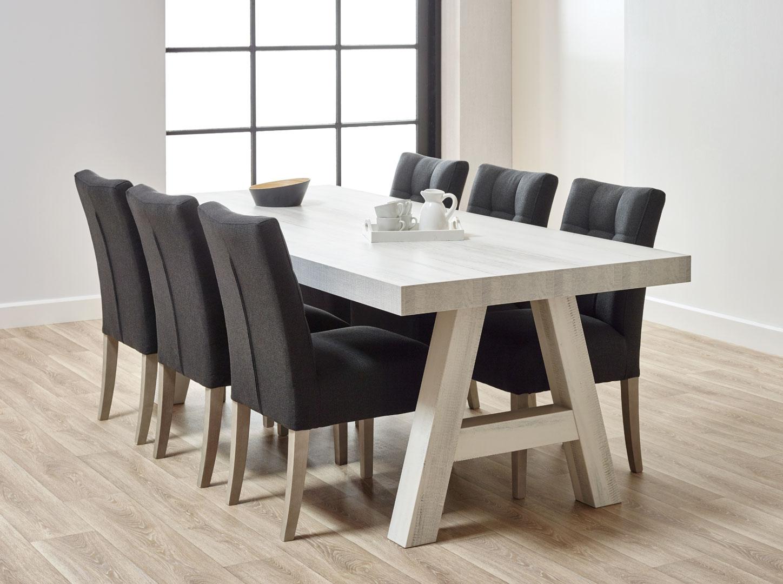 Table de salle à manger contemporaine coloris chêne blanchi Daytona II