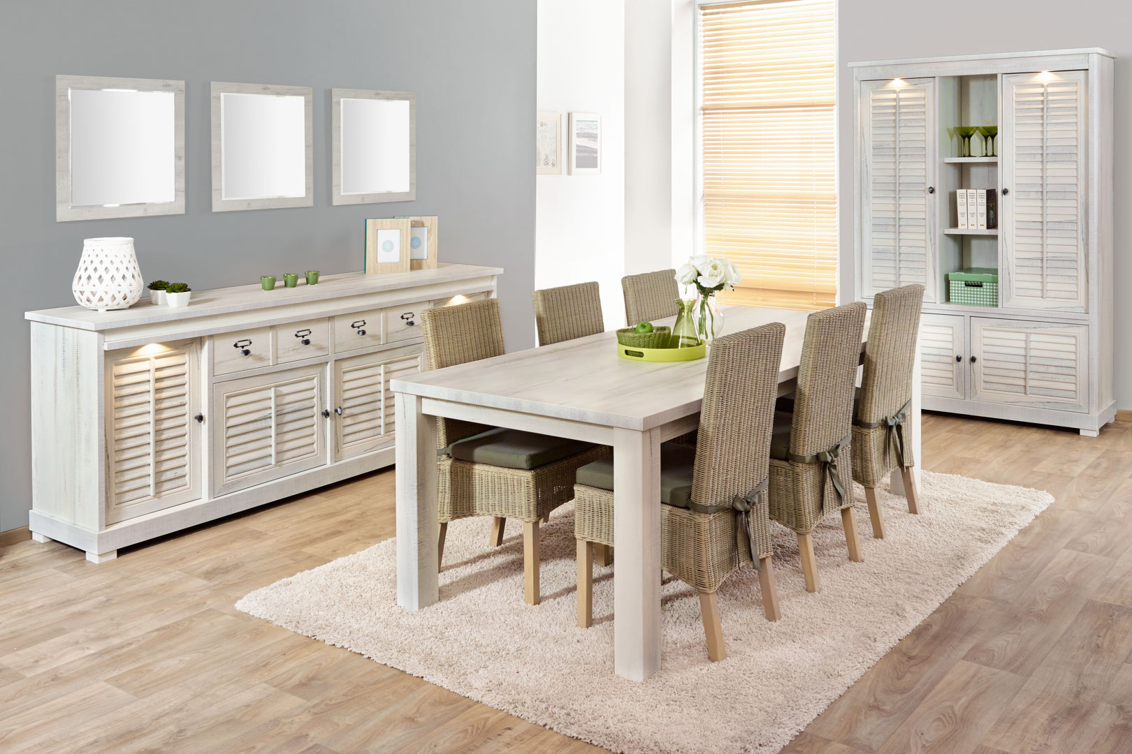 Salle à manger contemporaine chêne blanchi Daytona