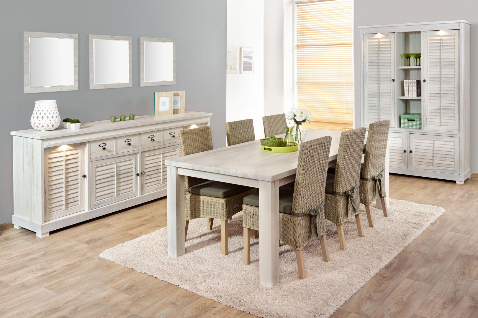 Salle à manger contemporaine coloris chêne blanchi Daytona