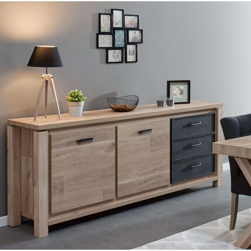buffet bahut contemporain 160 cm coloris ch ne anthracite tyson matelpro. Black Bedroom Furniture Sets. Home Design Ideas
