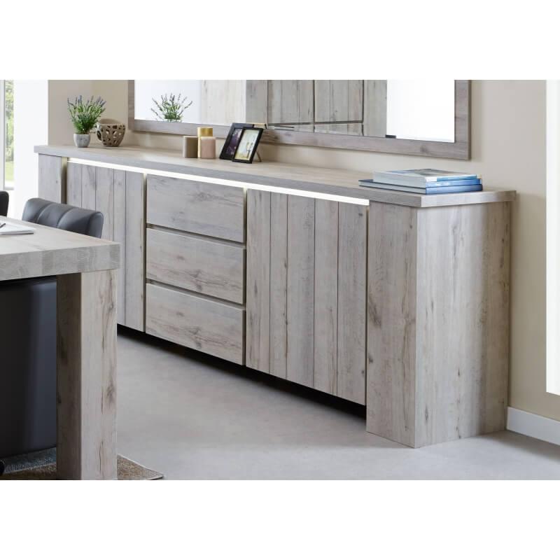 buffet bahut contemporain 200 cm coloris ch ne gris jonathan matelpro. Black Bedroom Furniture Sets. Home Design Ideas