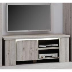 Meuble TV contemporain 145 cm coloris chêne gris Jonathan