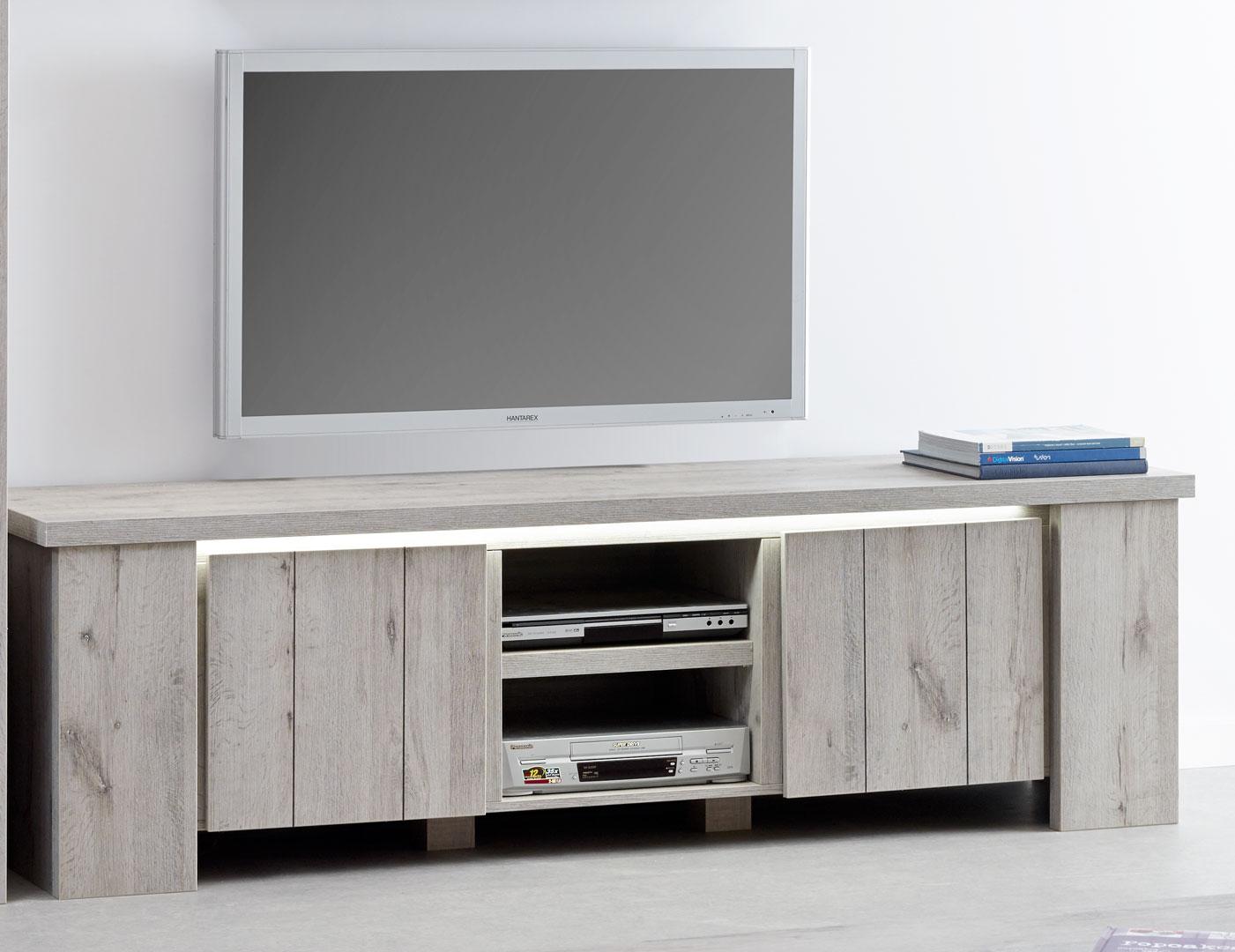 Meuble TV contemporain 193 cm coloris chêne gris Jonathan
