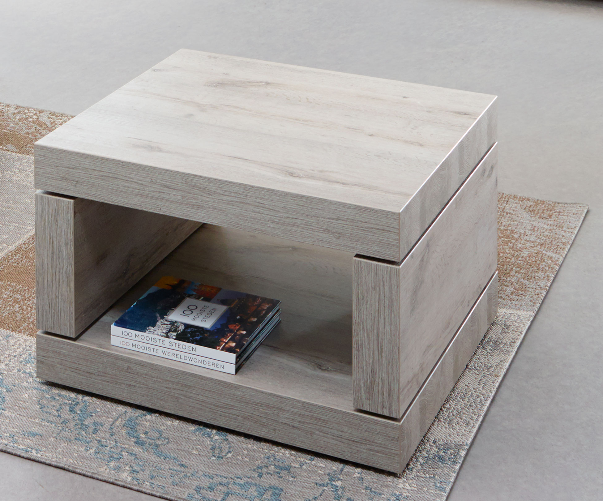 Table basse carrée contemporaine coloris chêne gris Jonathan II