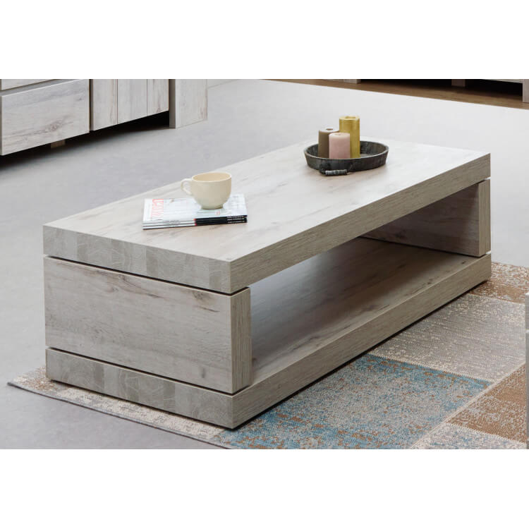 Table basse rectangulaire contemporaine coloris chêne gris Jonathan II