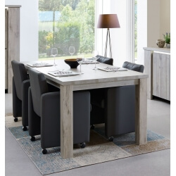 Table de salle à manger contemporaine coloris chêne gris Jonathan