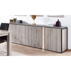 Buffet/bahut contemporain 250 cm coloris chêne gris/anthracite Cobra