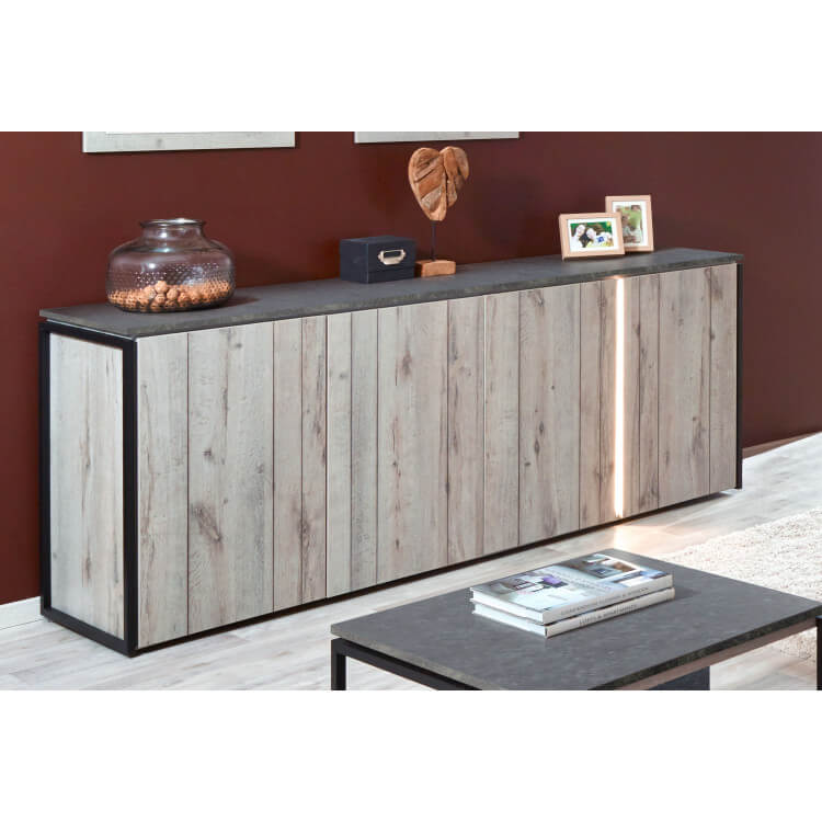 Buffet/bahut contemporain 210 cm coloris chêne gris/anthracite Cobra