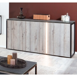 Buffet/bahut contemporain 160 cm coloris chêne gris/anthracite Cobra