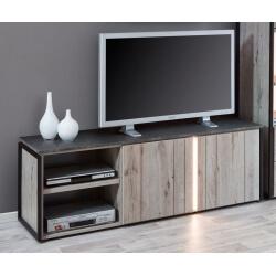 Meuble TV contemporain 160 cm coloris chêne gris/anthracite Cobra