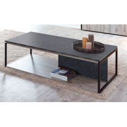 Table basse contemporaine coloris chêne gris/anthracite Cobra