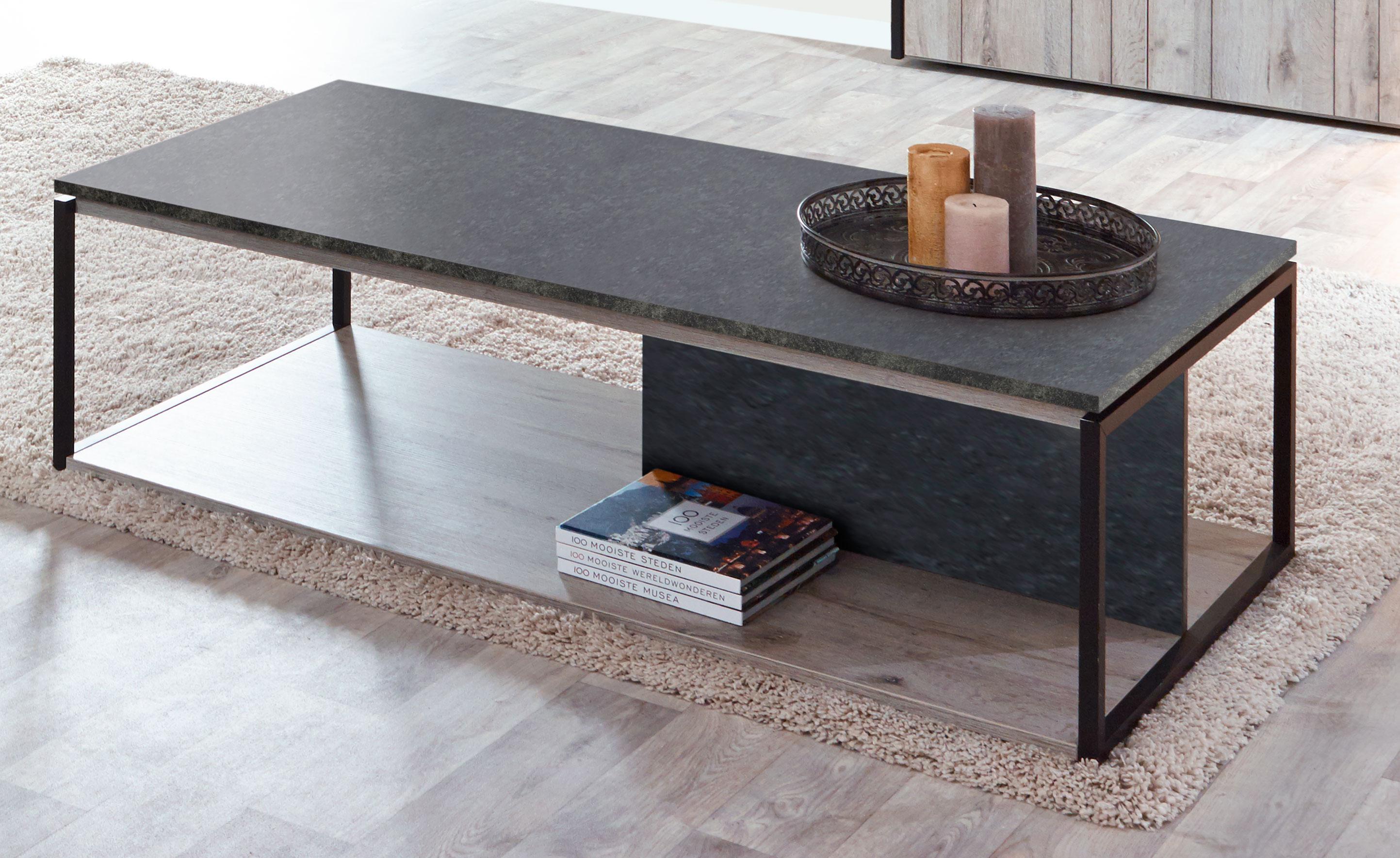 Table basse contemporaine coloris chêne gris/anthracite Cobra