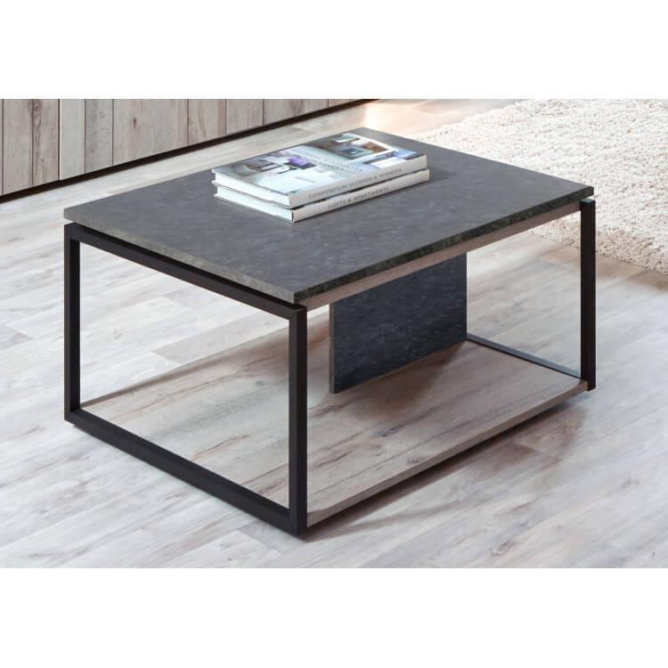 Table basse contemporaine coloris chêne gris/anthracite Cobra II