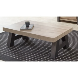 Table basse contemporaine rectangulaire coloris vieux chêne/anthracite Luciano