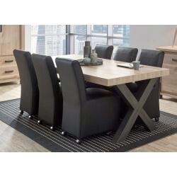 Table de salle à manger contemporaine coloris vieux chêne/anthracite Luciano II