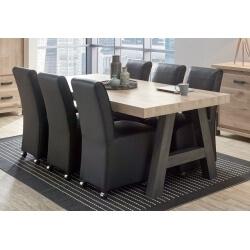 Table de salle à manger contemporaine coloris vieux chêne/anthracite Luciano III