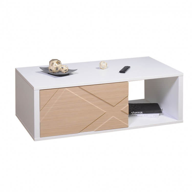 Table Basse Rectangulaire Design Coloris Chêneblanc Brillant Loic