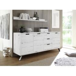 Buffet/bahut contemporain 3 portes/3 tiroirs chêne blanchi Sarina