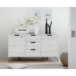 Buffet/bahut contemporain 2 portes/3 tiroirs chêne blanchi Sarina