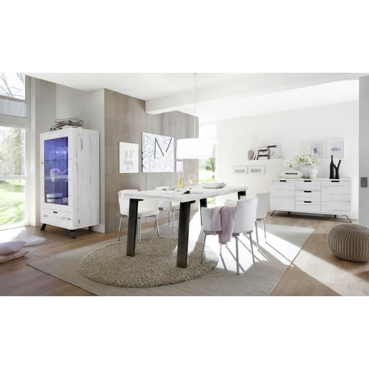 buffet bahut contemporain 2 portes 3 tiroirs ch ne blanchi sarina matelpro. Black Bedroom Furniture Sets. Home Design Ideas