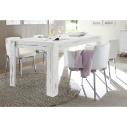 Table de salle à manger contemporain chêne blanchi Sarina