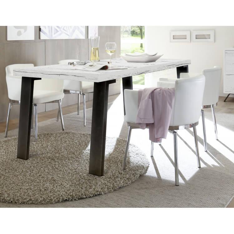 Table de salle à manger contemporain chêne blanchi Sarina II