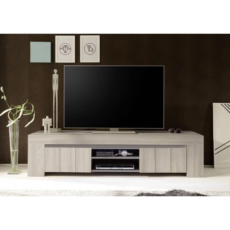 Meuble Tv Contemporain Coloris Orme Clair 190 Cm Sidonie